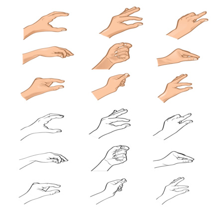 9 Hand Gesture Coloured and Black&White