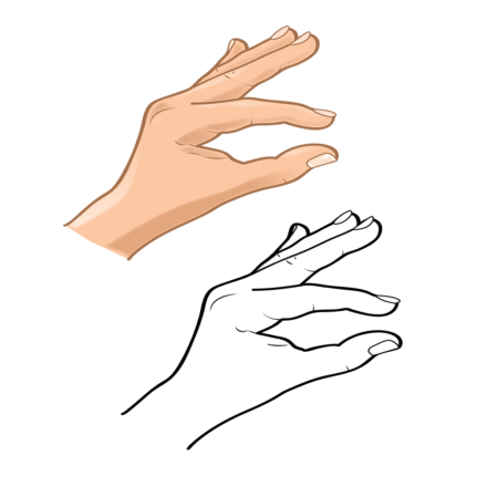 Hand Gesture C bw hand 4-01